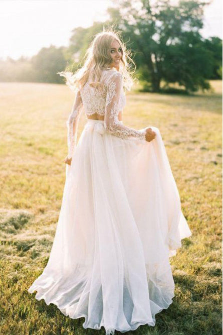 Two Piece Long Sleeves Chiffon Beach Wedding Dress With Lace OKR75
