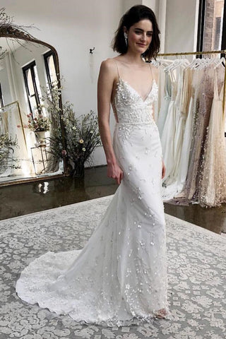 Mermaid Spaghetti Straps Sweep Train Appliqued Wedding Dress OKM24