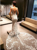 Mermaid V-Neck Backless Court Train Wedding Dress with Lace Appliques OKK47