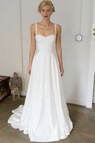 A-Line Spaghetti Straps Sweep Train Satin Simple Wedding Dress OKR74