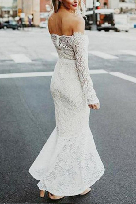 Mermaid Off-the-Shoulder Long Sleeves High Low Lace Beach Wedding Dress OKR81