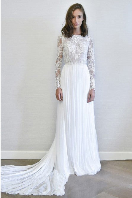 A-Line Long Sleeves Chiffon Long Simple Wedding Dress with Lace OKR78