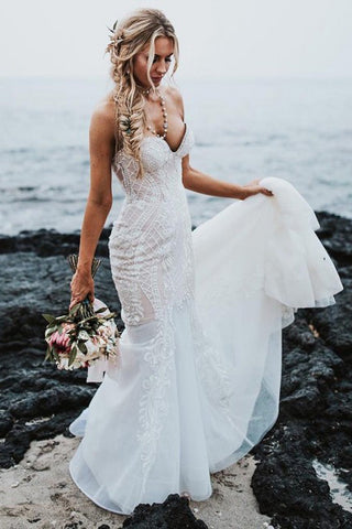 Mermaid Sweetheart Sweep Train Elegant Wedding Dress with Lace Appliques OKR77