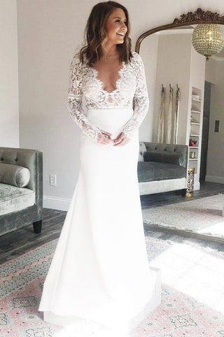 Sheath V-Neck Long Sleeves Deep V Neck Wedding Dress with Lace Top OKR76