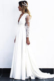 A-Line V-Neck Open Back Long Sleeves Wedding Dress with Lace Appliques OKR82