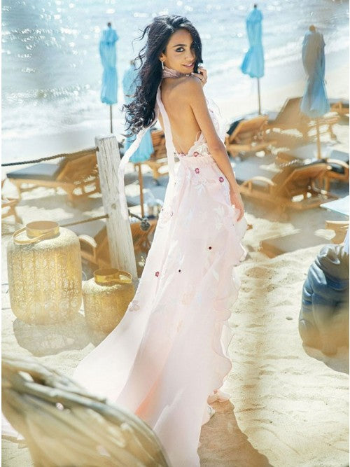 A-Line Halter Backless Light Pink Chiffon Beach Wedding Dress with Appliques Ruffles OKR83