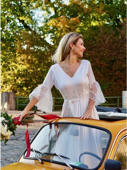 A-Line V-Neck V Back 3/4 Sleeves Satin Boho Wedding Dress with Lace OKS27