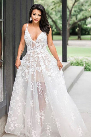 A-Line Spaghetti Straps Floor-Length V Neck Wedding Dress with Appliques OKS28