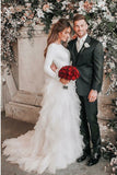 A-Line Bateau Long Sleeves Ruffles Tulle Elegant Wedding Dress OKS30