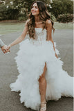 A-Line Strapless Ruffles Beach Wedding Dress with Appliques Split OKS36