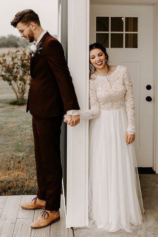 A-Line Round Neck Long Sleeves Backless Boho Wedding Dress with Lace OKS31