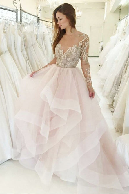 Princess A-Line Bateau Long Sleeves Pink Wedding Dress with Appliques OKS34
