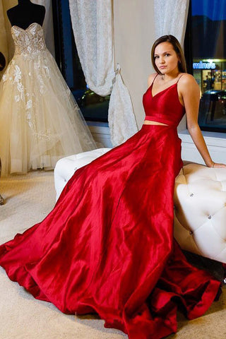 Two Pieces Red Simple Prom Dresses, Long Cheap Evening Dress OKJ84