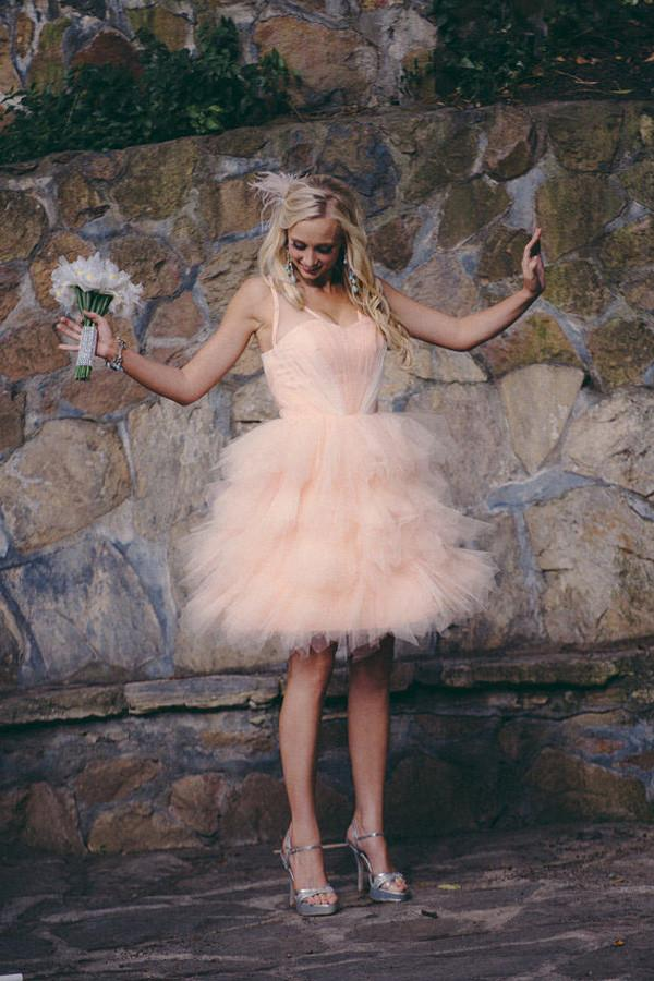 Knee Length Blush Colored Layered Tulle Short Ruffles Wedding Dresses OK557