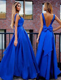 Sexy A-Line V-Neck Sweep Train Backless Royal Blue Prom Dress with Bowknot Pleats OK340