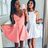 Cute A-Line Jewel Backless Sleeveless Short Junior White/Blush Satin Homecoming Dress OK317