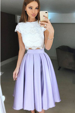 Two Piece Tea-Length Lavender Prom Homecoming Dress with Lace Pleats OKL38