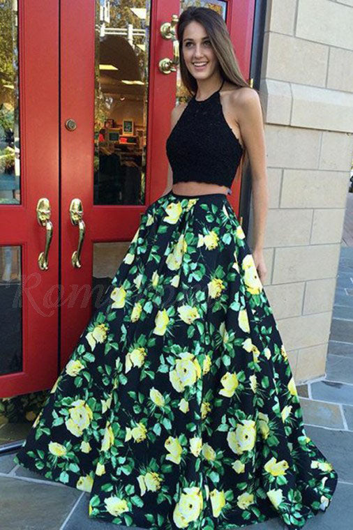 Halter Two Piece Prom Dress with Lace Pleats Floral Print Party Dress OKQ91