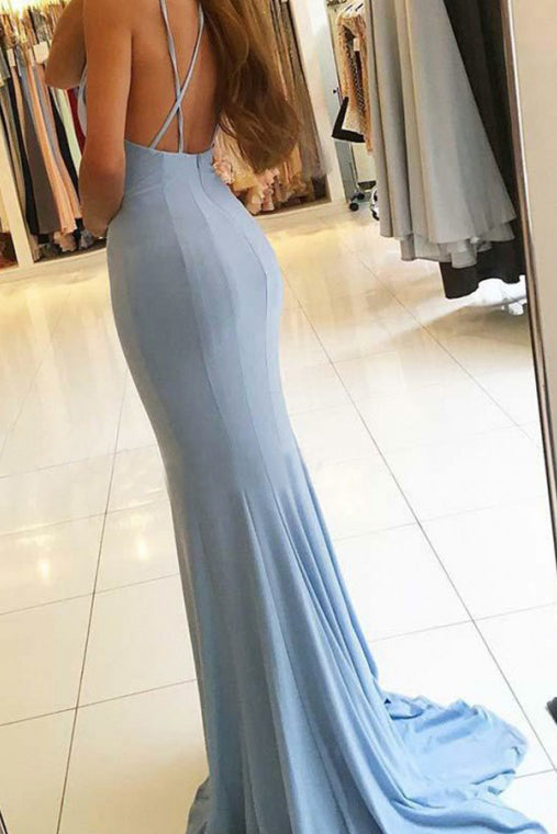 Gorgeous Sleeveless Mermaid Evening Dress Front Slit Long Blue Prom Dress OK622