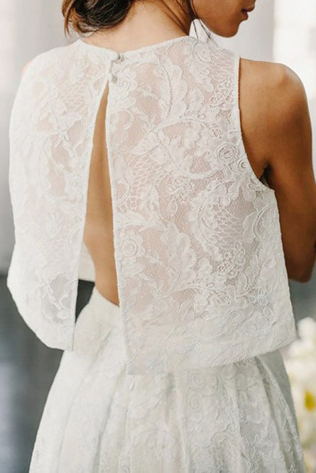 Two Piece Open Back Sweep Train Ivory Lace Wedding Dress with Pockets OKS33