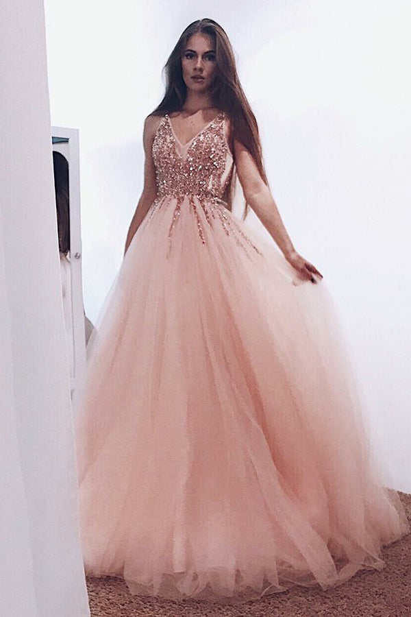 A-Line Pearl Pink Tulle V Neck Long Prom Dress with Sequins OK972