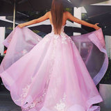 New A-Line Sweetheart Sweep Train Pink Tulle Prom Dress with Lace Appliques OK901
