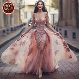 Charming Sweep Train Deep V Neck Pink Tulle Prom Dress with Lace Appliques OKA18
