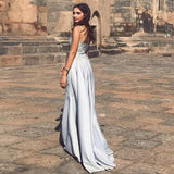 Mermaid Spaghetti Straps Detachable Silver Prom Evening Dress with Appliques OKQ66