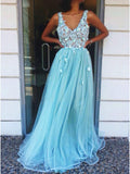 A-Line V-Neck Floor-Length Tulle Long Prom Dress with Appliques OKQ96