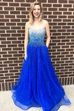 A-Line Sweetheart Floor-Length Royal Blue Prom Dress with Beading Pockets OKQ93