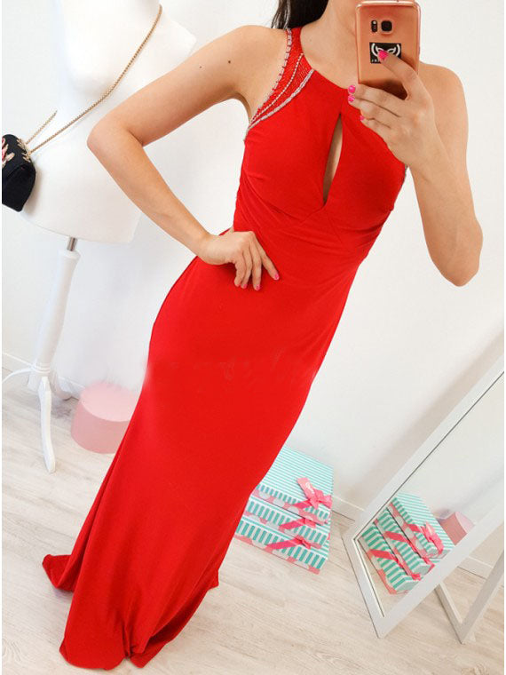Mermaid Crew Open Back Floor-Length Red Prom Dress with Keyhole OKR7