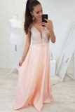 A-Line V-Neck Floor-Length Pearl Pink Prom Dress with Beading OKR6