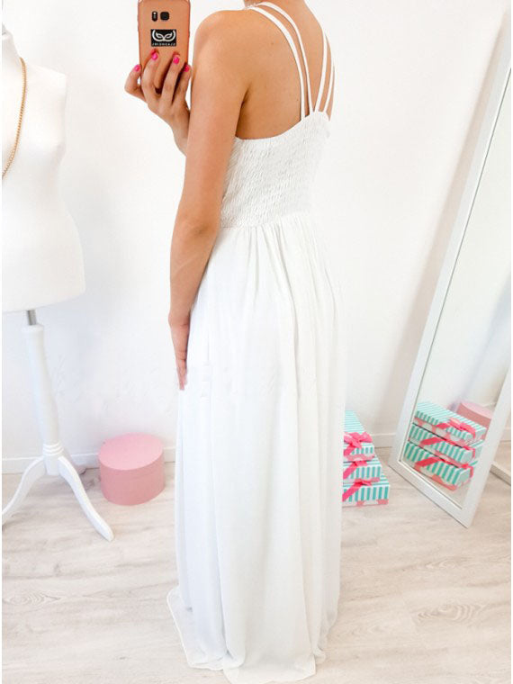 A-Line Crew Floor-Length White Chiffon Prom Dress with Pearls OKR5
