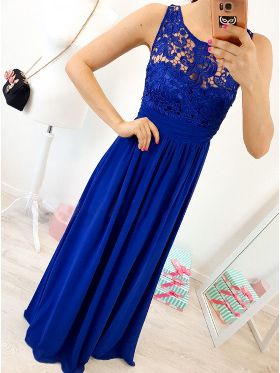 A-Line Round Neck Floor-Length Royal Blue Prom Dress with Lace Pleats OKR4