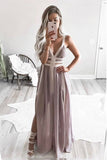 A-Line Straps Floor-Length Chiffon Pleated Prom Dress with Split OKR1