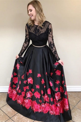 Two Piece Crew Long Sleeves Black Floral Printed Prom Dress with Lace OKL34