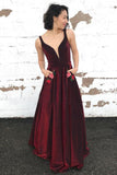 A-Line V-Neck Long Burgundy Prom Dress with Pockets Floral Appliques OKQ90