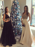 Beautiful A-Line V-Neck Floor-Length Black Lace Long Prom Dress OK899