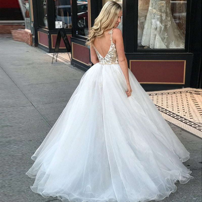 A-Line Spaghetti Straps Floor Length White Detachable Train Prom Dress with Appliques OKQ65
