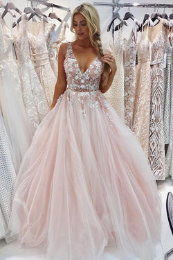 Charming A-Line V-Neck Floor-Length Pink Tulle Prom Dress with Appliques Beading OKI68