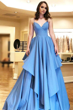 Simple A-Line Spaghetti Straps Blue Satin Tiered Prom Dress OKL83