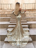 Mermaid Long Split Prom Dress Gold Sequined Evening Dress with Sleeves OKP6