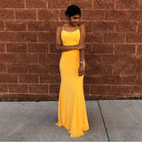 Mermaid Spaghetti Straps Floor-Length Yellow Sexy Prom Dress OKQ67