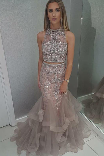 Stunning High Neck Blush Two Piece Prom Dress with Beading OKH34