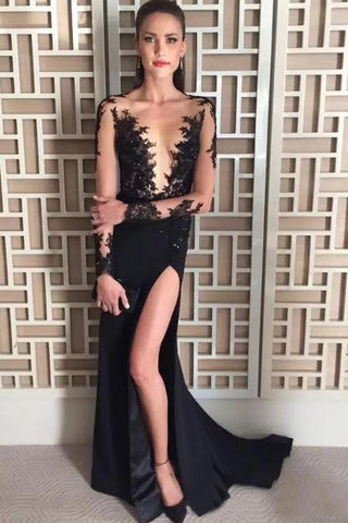 fdb80e49dbe0 Deep V-Neck Long Sleeve Black Evening Dress,Beading Split Sexy Prom Dress  OKH27