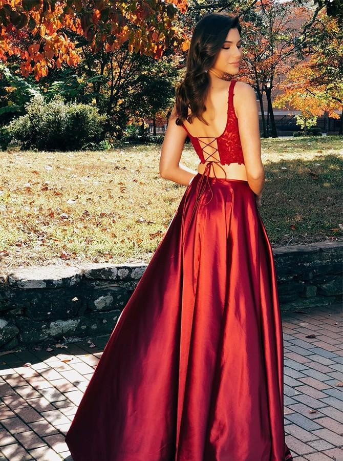 Two Pieces Scoop Sleeveless Burgundy Split Sexy Long Prom Dresses OKG97