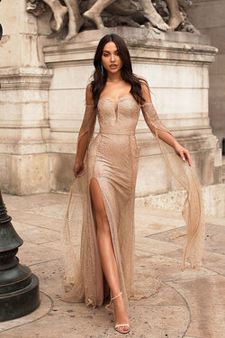 Exquisite Off Shoulder Long Sleeves Split Sequins Sexy Prom Party Dress OKI60