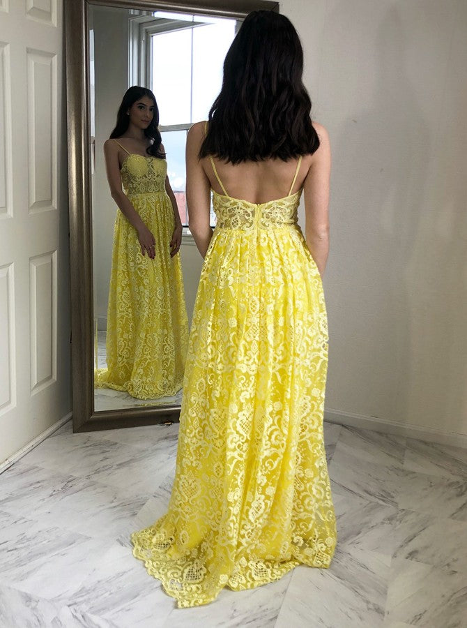 Charming A-Line Spaghetti Straps Floor-Length Yellow Lace Prom Dress OKL73