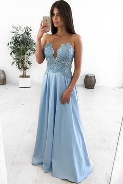 A-Line Illusion Round Neck Light Blue Satin Prom Dress with Appliques OKL76