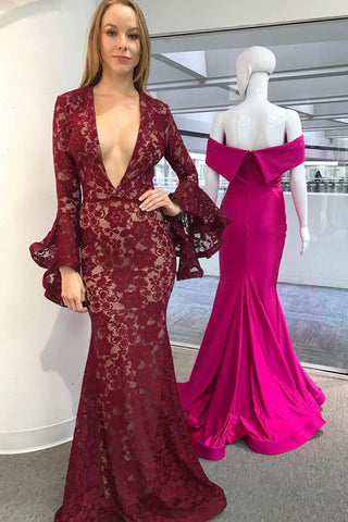 Burgundy Mermaid Deep V-Neck Long Sleeves Lace Prom Dress OKL88